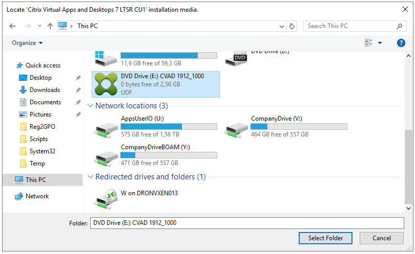 Machine generated alternative text: Locate 'Citrix Virtual Apps and Desktops 7 LTSR CUI installation media.  ThisPC  Organize •  * Quick access  Desktop  Downloads  Documents  [e] Pictures  Reg2GPO  Scripts  Syste m32  Temp  This pc  Network  O  Folder:  Il,g free  DVD Drive (8) CVAD 1912 1000  O bytes free of 2,56 G8  UDF  v Network locations (3)  AppsUserIO (U:)  575 free of TB  CompanyDrive80AM  471 free of 557  v Redirected drives and folders (1)  W on DRONVXEN013  DVD Drive CVAD 1912 IODO  CompanyDrive  464 free of 557 G8  Select Folder  Cancel