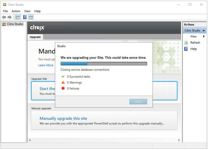 """Machine generated alternative text: Citrix Studio  File Action View Help  Citrix Studio  ciTR!X  Upgrade  Studio  Citrix St  Refresh  Help  Man  You must u  Learn More  Upgrade Site  Start th  You must  Manual upgrade  We are upgrading your Site. This could take some time.  Closing service database connections  •Z O Successful tasks  A O Warnings  O Failures  Clcse  Manually upgrade this site  We can provide you with the appropriate PowerSheII scripts to perform this upgrade manually""""."""