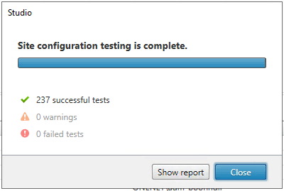 Machine generated alternative text: Studio  Site configuration testing is complete.  •Z 237 successful tests  A O warnings  O failed tests  S'u•w report  Close
