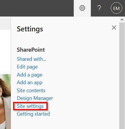 x  Settings  SharePoint  Shared with...  Edit page  Add a page  Add an app  Site contents  Design Manager  Getting started