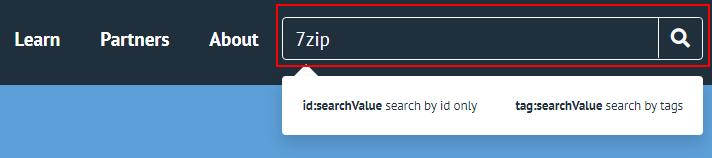 Machine generated alternative text: Leam  Partners  About  Izip  id:searchVaLue search by id only  tag:searchVaLue search by tags