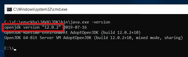 """•n\java.exe -version  openjdk version """"12.0.2"""" 019-07-16  t AdoptopenJDK (build 12.0.2+10)  openJDK 64-Bit server w AdoptopenJDK (build 12.ø.2+1e, mixed mode,  sharing)"""