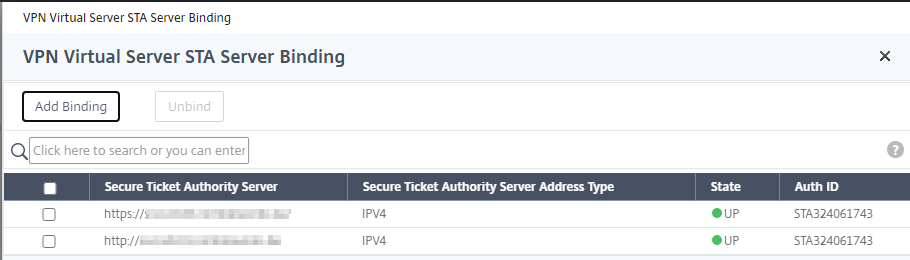 VPN Virtual Sever STA Server Binding  VPN Virtual Server STA Server Binding  Add Binding  unbind  Q  Click here to search or you can enter  Secure Ticket Authority Server  Secure Ticket Authority Server Address Type  STA324061743  STA324061743