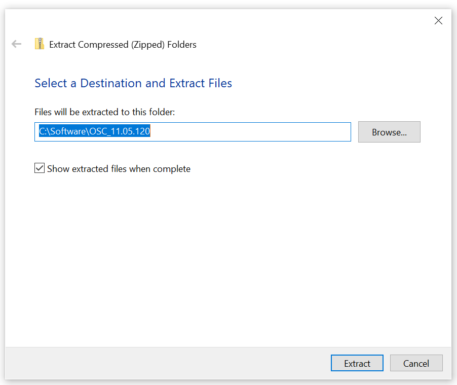 Machine generated alternative text: Extract Compressed (Zipped) Folders  Select a Destination and Extract Files  Files will be extracted to this folder:  11.05.120  C] Show extracted files when complete  Extract  x  Browse...  Cancel