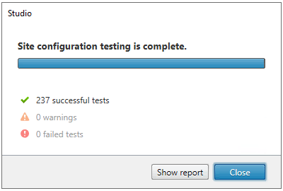 Machine generated alternative text: Studio  Site configuration testing is complete.  •Z 237 successful tests  O warnings  O failed tests  Show report  Close