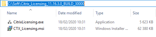 Machine generated alternative text: Name  CitrixLicensing.exe  CTX Licensing.msi  11.16.3.c, BUILD  Date modified  18/02/2020 10:31  18/02/2020 10:31  Type  Application  Windows Installer  Size  5 623 KB  62 380 KB