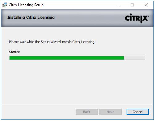 Machine generated alternative text: Citrix Licensing Setup  Installing Citrix Ikensing  Please vvalt while the Setup Wizard installs Citrix Licensing.  Status:  cinpc